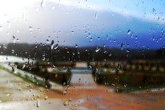 Raindrops on the window pane.