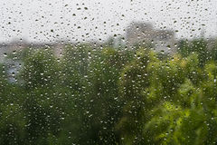 Raindrops on a window pane. Summer day. In the background buildings and trees royalty free stock images