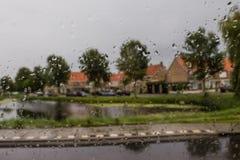 Raindrops on the window. Rainy day in Netherlads Royalty Free Stock Image