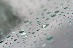 Raindrops on a windshield. Royalty Free Stock Photos