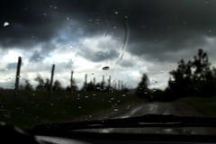 Raindrops on windshield Royalty Free Stock Image