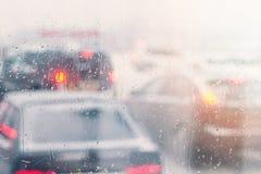 Rain drops on car window stock photos