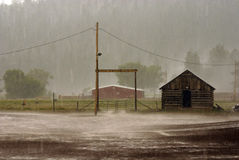 Rained In. Five minute rain storm in Apache Creek, New Mexico Stock Image