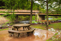 Rained Out - Wet Picnic Table Stock Images
