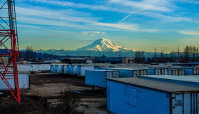 Rainer And Containers. A view of shipping containers and Mount Rainier. HDR image Stock Image