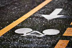 Rainfall on a bicycle lane Stock Images