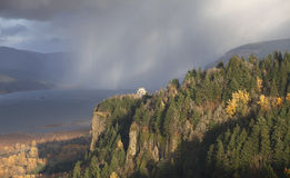 Rainfall in the Columbia Gorge OR. A rainstorm clouds is raging in the Gorge passing through the valley Stock Image
