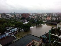 Rainfall. The condition of Comilla city after 2 days of rainfall Stock Photos