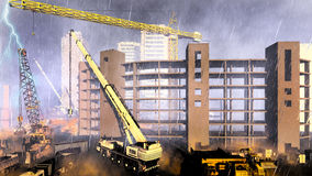 Rainfall on construction site. Construction site during rainstorm. See my other works in portfolio Stock Images