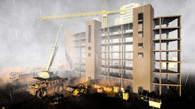 Rainfall on construction site. Construction site during rainstorm. See my other works in portfolio Royalty Free Stock Photo