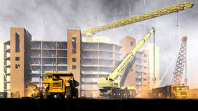 Rainfall on construction site Royalty Free Stock Images