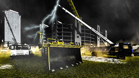 Rainfall on construction site Stock Images