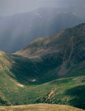 Rainfall in the Mount Massive Wilderness, from the summit of Peak 13500, Colorado stock image