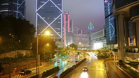 Rainfall and Night Traffic in Hong Kong. Fast Motion stock video footage