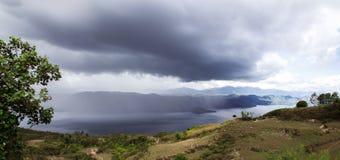 Rainfall. Rainfall over Lake Toba. Island on North Sumatra, Indonesia Royalty Free Stock Photography