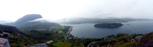Rainfall in Shieldaig. View from the top of a hill in Shieldaig in the Scottish Highlands, UK Stock Photo