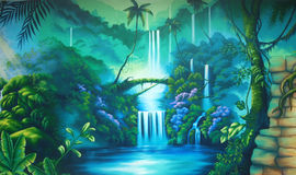 Rainforest background. Theatre backdrop featuring a rainforest Stock Image