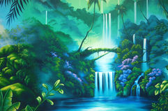 Rainforest background. Theatre backdrop featuring a rainforest Stock Photography