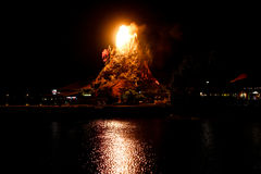 Rainforest Cafe Volcano erupts at Downtown Disney. Stock Photo