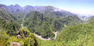 Rainforest hills on Madeira island, Portugal Royalty Free Stock Photos