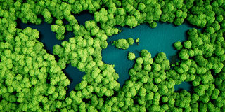 Rainforest lakes in the shape of world continents. Environmental Stock Image