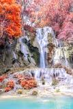 Rainforest waterfall, Tat Kuang Si Waterfall at Luang Prabang, Loas Royalty Free Stock Photos