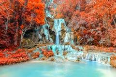 Rainforest waterfall, Tat Kuang Si Waterfall at Luang Prabang, Loas Royalty Free Stock Images