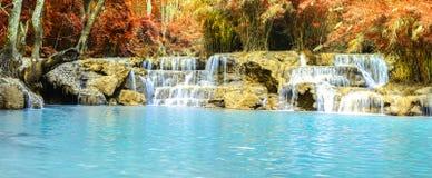 Rainforest waterfall, Tat Kuang Si Waterfall at Luang Prabang, Loas Stock Photography