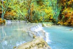 Rainforest waterfall, Tat Kuang Si Waterfall at Luang Prabang, Loas Royalty Free Stock Image