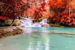Rainforest waterfall, Tat Kuang Si Waterfall at Luang Prabang, Loas Stock Image