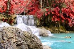 Rainforest waterfall, Tat Kuang Si Waterfall at Luang Prabang, Loas Royalty Free Stock Photography