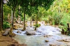 Rainforest waterfall, Tat Kuang Si Waterfall at Luang Prabang, Loas Stock Photo