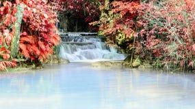 Rainforest waterfall, Tat Kuang Si Waterfall at Luang Prabang, Loss Royalty Free Stock Images