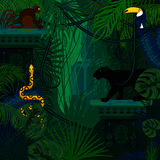 Rainforest wild animals and plants vector background. Royalty Free Stock Image