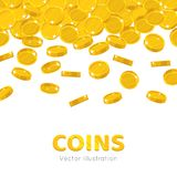 Raingold coins cartoon frame. A rain of the flying gold of coins frame in a cartoon style. Falling gold pieces in the form of vector illustrations Royalty Free Stock Images