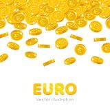 Rain gold euro cartoon frame. Raingold euro cartoon frame. A rain of the flying gold of euro in the form of a frame in a cartoon style. Falling gold pieces in Royalty Free Stock Image