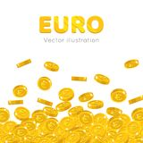 Rain gold euro cartoon frame. Raingold euro cartoon frame. A rain of the flying gold of euro in the form of a frame in a cartoon style. Falling gold pieces in Stock Images