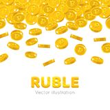 Rain gold rubles cartoon frame. Raingold rubles cartoon frame. A rain of the flying gold of rubles in the form of a frame in a cartoon style. Falling gold pieces Royalty Free Stock Photography