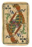 Rainha antiga usada do cartão de jogo da cruz isolada Fotos de Stock Royalty Free