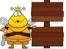 Rainha Armor Sign da abelha dos desenhos animados ilustração do vetor