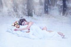 Rainha da neve e Sra. Mola Rainha da neve - inverno envolve a mola e a põe para dormir - sonolento A mola adormecida envolveu no  Imagens de Stock Royalty Free
