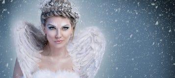 Rainha da neve - fada do inverno com asas fotografia de stock royalty free