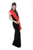 Rainha da representação histórica que desgasta a faixa vermelha Fotografia de Stock