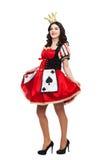 A rainha das pás Jovem senhora criativa no preto Fotografia de Stock Royalty Free