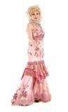 Rainha de arrasto do retrato na execução cor-de-rosa do vestido de noite Imagens de Stock