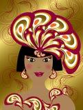 Rainha de beleza da pena do pavão ilustração do vetor