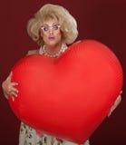 Rainha do arrasto com coração grande Foto de Stock Royalty Free