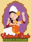 Rainha do carnaval do ` s de Barranquilla que abre o evento com a proclamação real, ilustração do vetor Fotografia de Stock Royalty Free