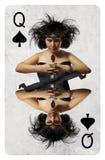 Rainha do cartão de jogo das pás fotografia de stock royalty free