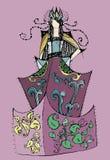 Rainha do traje da fantasia do esboço Imagem de Stock
